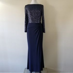 Lauren Ralph Lauren Long Sleeve Sequin Gown 14